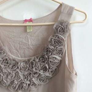 Taupe Gray Top with Fabric Roses